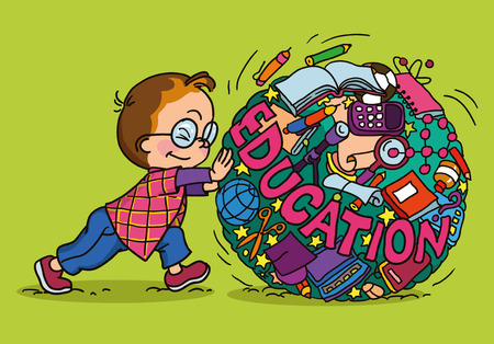 childrens book: hand drawing vector illustration. Cartoon boy rolls circle icons Knowledge. Illustration