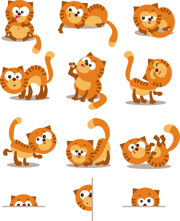 cartoon body: Playful cats. Set for page layout. Illustration