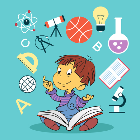 child with book and education icons. Concept of education