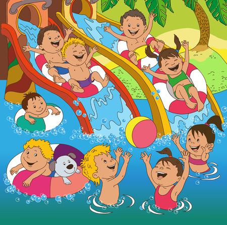 Kinder spielen am Strand. Cartoon Kinder spielen auf den Wasserrutschen. Standard-Bild - 46515264
