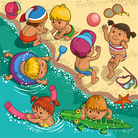 beach: Children playing on the beach. Illustration