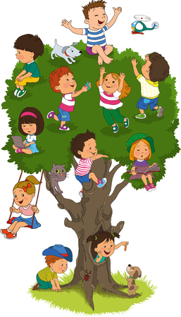 school of life: happy children playing on the tree