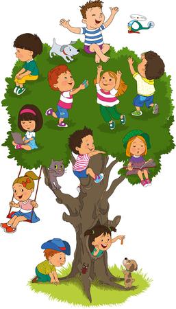 convivencia escolar: niños felices jugando en el árbol