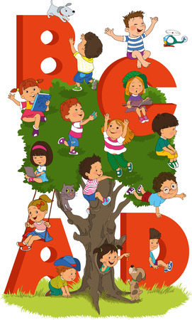 expressing positivity: Illustration of Kids Playing with Letter-Shaped Playhouses and tree.