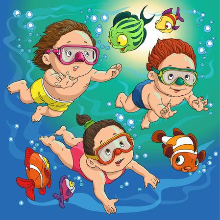 natacion niños: los niños nadan en el mar con peces Vectores