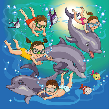 children swimming: cartoon children swim with dolphins and fish