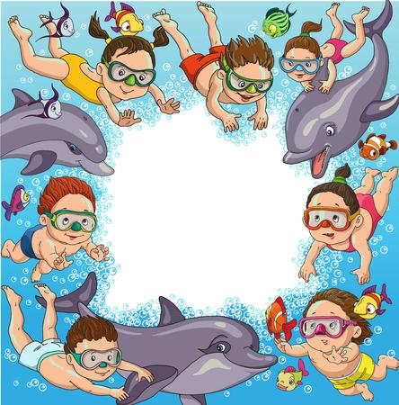 kinderen cartoon zwemmen met dolfijnen en vis. Ruimte voor tekst. Stock Illustratie