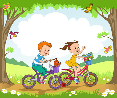 summer day: Funny kids ride bikes along the forest summer day. Vectores