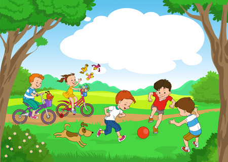 Funny cartoon. Vector illustration. Funny kids ride bikes along the forest summer day. joyful kids play ball on the lawn. Vectores