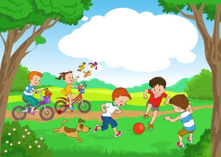 niño y niña: Historieta divertida. Ilustración del vector. Niños divertidos andan en bicicleta a lo largo del día el bosque de verano. niños alegres juegan a la pelota en el césped.
