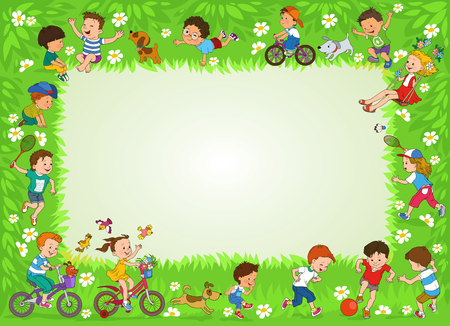Funny cartoon. Vector illustration. Joyful kids play ball on the lawn. Illustration with place for text Çizim