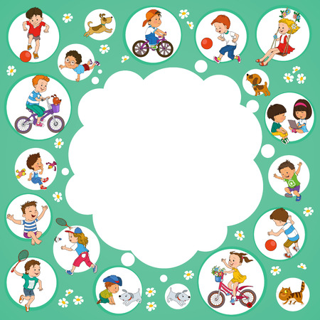 kids background: Vector illustration. Funny kids playing. Background Illustration with place for text.