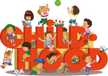 kinder spielen: Wort Kindheit mit glückliche Kinder am Strand auf dem Hintergrund des Regenbogens. Illustration
