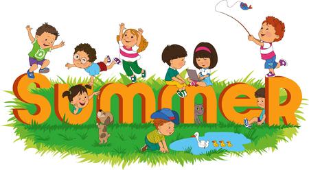 有五颜六色和愉快的孩子的词夏天