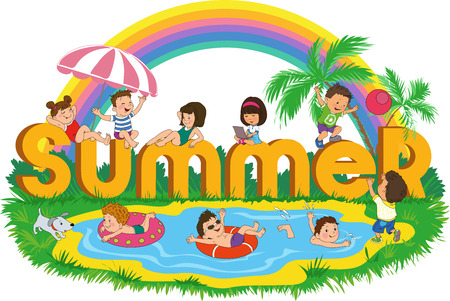 playground children: Word summer with happy kids on the beach on the background of the rainbow