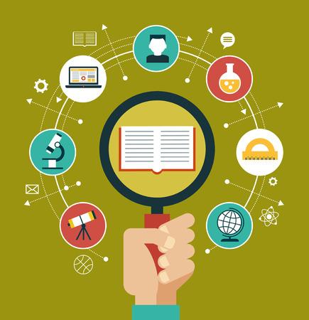 onderwijs: Concept van keuze van het toekomstige beroep. Iconen onderwijs. Boek, vergrootglas omringd door onderwijs pictogrammen.