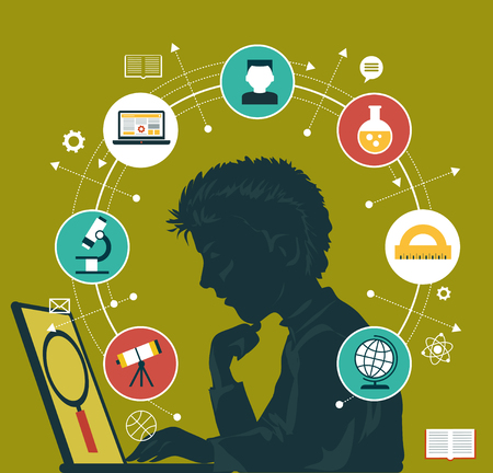 The concept of choosing a future profession. Icons education. Silhouette of a boy with a laptop surrounded by icons of education. Illusztráció
