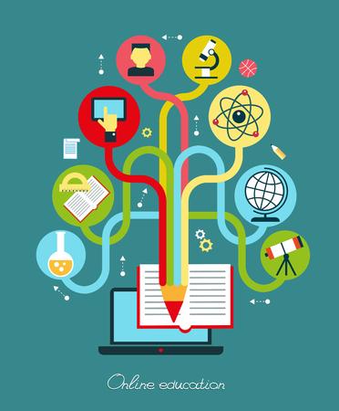 Modern vector illustration concept. Iinfographics background education. Concept of online education. Illustration