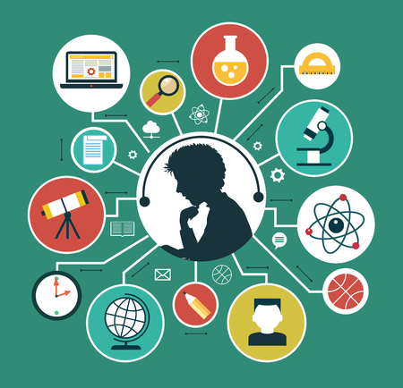 Moderne Vektor-Illustration Konzept. Iinfographics Hintergrund Bildung. Konzept der Online-Bildung.