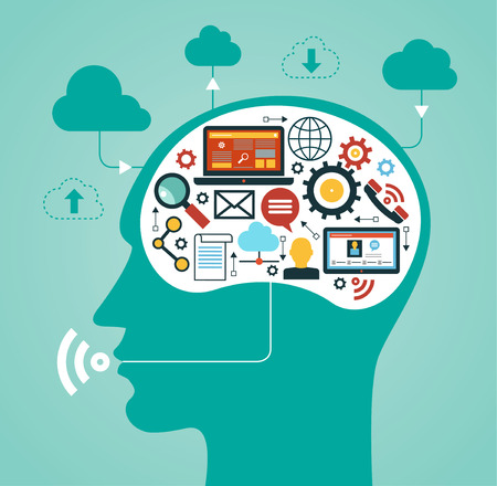 silhouette of a man's head with a  network icons. Concept of communication in the network