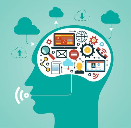 Silhouette des Kopfes eines Mannes mit einem Netzwerk-Icons. Konzept der Kommunikation im Netzwerk