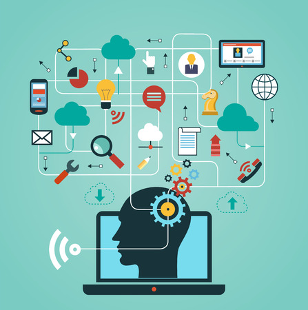 design backgrounds: silhouette of a mans head with a hand drawing network icons. Concept of communication in the network Illustration