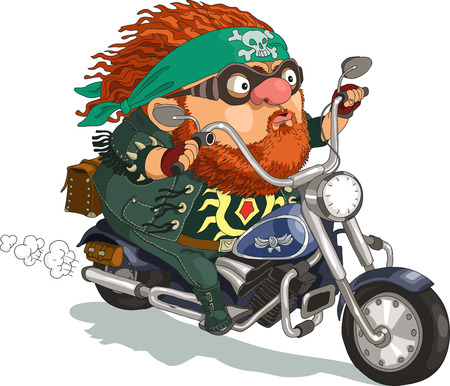 biker: Funny cartoon. Vector illustration. ool bearded biker rides a motorcycle. Isolated objects.