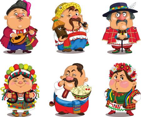 Cartoon Ukrainer. Lustig, Travestie-Cartoon. Figuren. Ukrainer setzen. Isolierte Objekte.