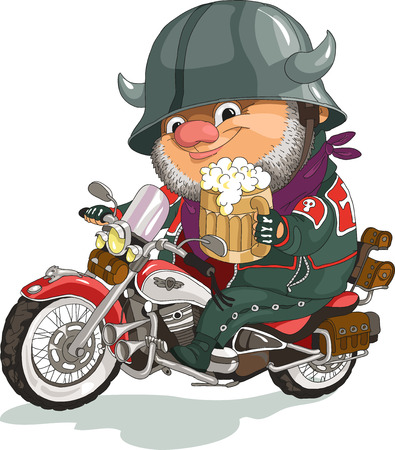 Funny cartoon. Vector illustration. Cool biker sitting on the motorcycle with a beer. Isolated objects. Vectores