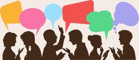 conflict: siluetas de personas que conducen los diálogos con las burbujas del discurso de colores