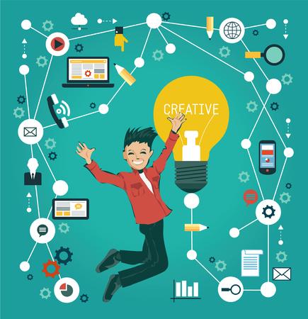 Creative-Netzwerk-Konzept. Cartoon Mann von Medien-Symbole umgeben. Illustration