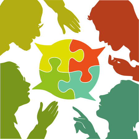 consensus: silhouettes of people leading dialogues with colorful speech bubbles. Speech bubbles in the form of puzzles. Dialogue and consensus. Illustration