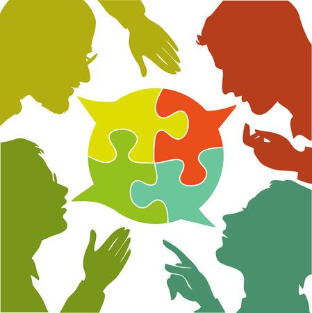 conflicto: siluetas de personas que conducen los diálogos con las burbujas del discurso de colores. Burbujas del discurso en forma de rompecabezas. El diálogo y el consenso.