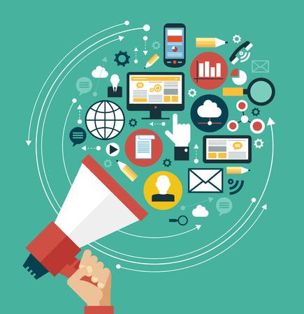 통신: 디지털 마케팅 개념. 미디어 아이콘으로 둘러싸인 확성기와 인간의 손 일러스트