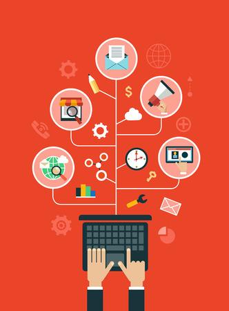 조직: 디지털 마케팅 개념입니다. 미디어 아이콘으로 둘러싸인 확성기와 인간의 손입니다.