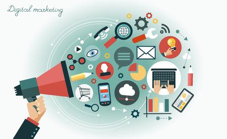 조직: 디지털 마케팅 개념. 미디어 아이콘으로 둘러싸인 확성기와 인간의 손 일러스트