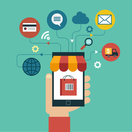 e commerce concept. Flat design vector illustration. Human hand with mobile phone, tablet, laptop and interface icons