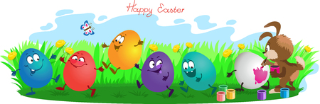easteregg: Funny cartoon. Vector illustration. Rabbit paints easter eggs on grass.