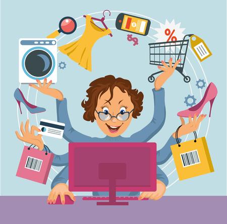 comprando zapatos: Mujer multibrazo hizo compras tienda en línea. Concepto de E-compras.