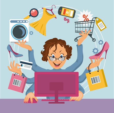 buying: multiarm woman shopped online store. E-shopping concept.
