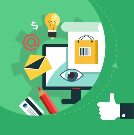 Flat vector mobile app - email marketing Illustration
