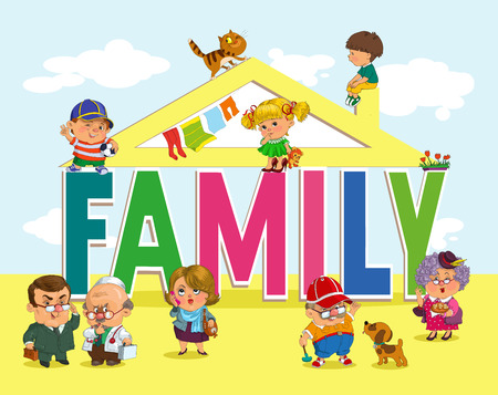 piggyback: Word family with fun and happy children and adults. Illustration