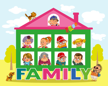 piggyback: Funny cartoon. Vector illustration.House and the word family. Happy family in the windows. Illustration
