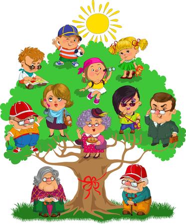 Happy big family on the family tree.