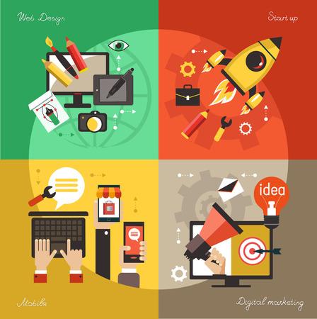 Modern web concepts set flat vector digital marketing, start up, dusiness idea, web design.