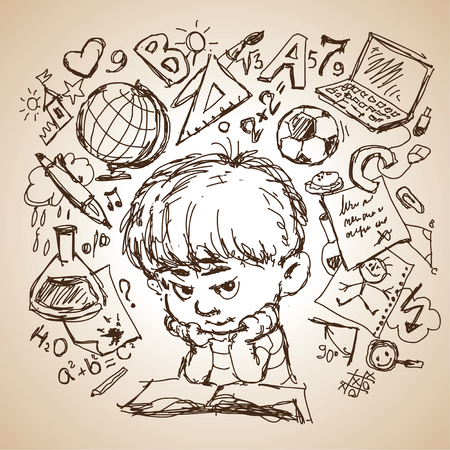 children's story: freehand drawing sketch of a boy with a book and education icons. Concept of education.