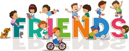 amistad: Historieta feliz fondo Día de la Amistad con los niños y niñas lindos ilustración. Inscripción Amigos.