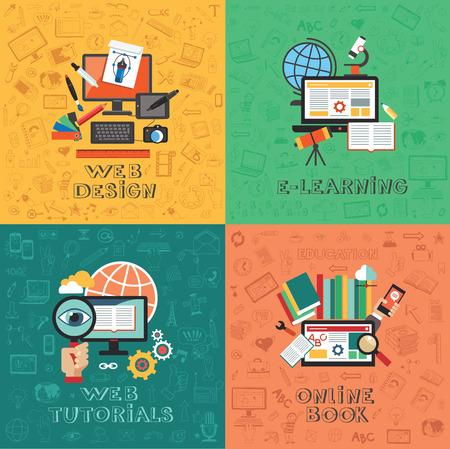 tecnologia: Infográficos educação conceito plana vetor. Designer de Web. E-learning. Tutoriais da Web. Reserve online.