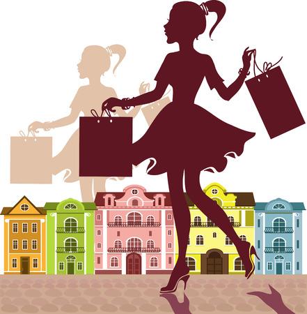 Vektor. Graceful Silhouette eines Mädchens mit Einkaufstüten auf dem Hintergrund einer Stadtstraße.