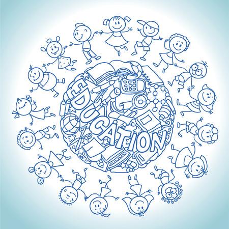 libro caricatura: dibujo a mano ilustración vectorial. niños de dibujos animados en un círculo. Vectores